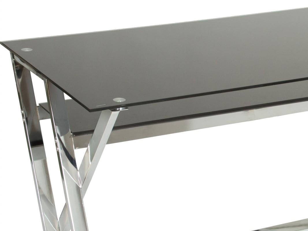 Mesa escritorio cristal negro y metal mesas de trabajo - Pegar cristal y metal ...