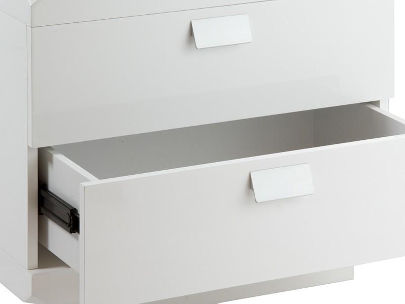 Mesita de noche moderna blanca lacada mesillas dormitorio for Mesitas noche modernas