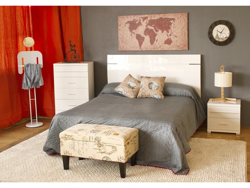 Cabecero de cama de matrimonio en blanco lacado cabezales - Cabeceros de cama blancos ...