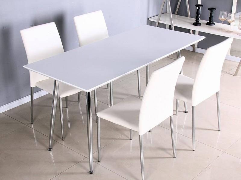 Mesa blanca lacada con patas cromadas - Muebles comedor