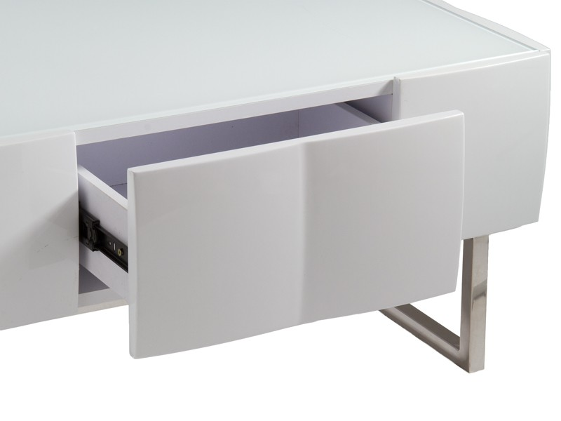 Mesa centro de dise o blanca lacada muebles sal n online - Mesa salon diseno ...