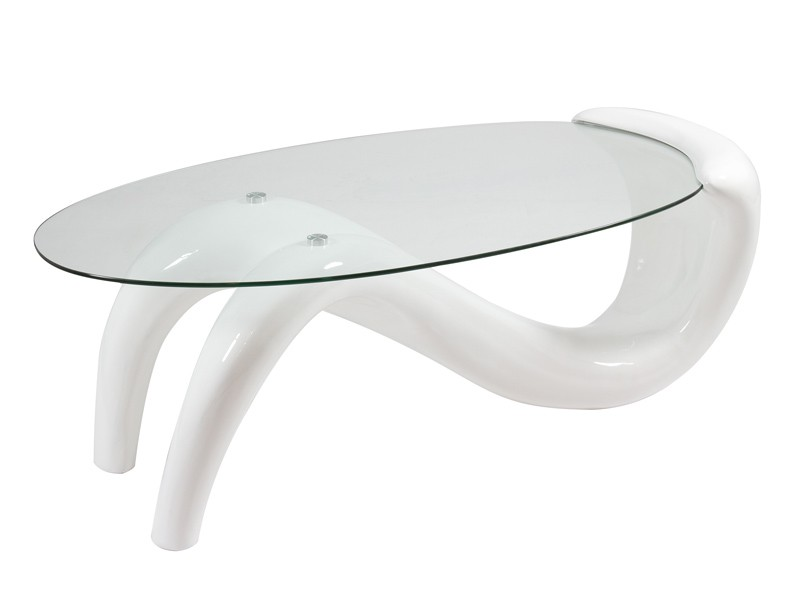 Mesa de centro moderna lacada de resina y cristal for Mesas de centro de cristal modernas