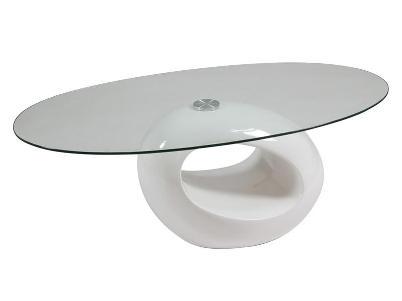 mesa de centro ovalada blanca lacada en dm y cristal