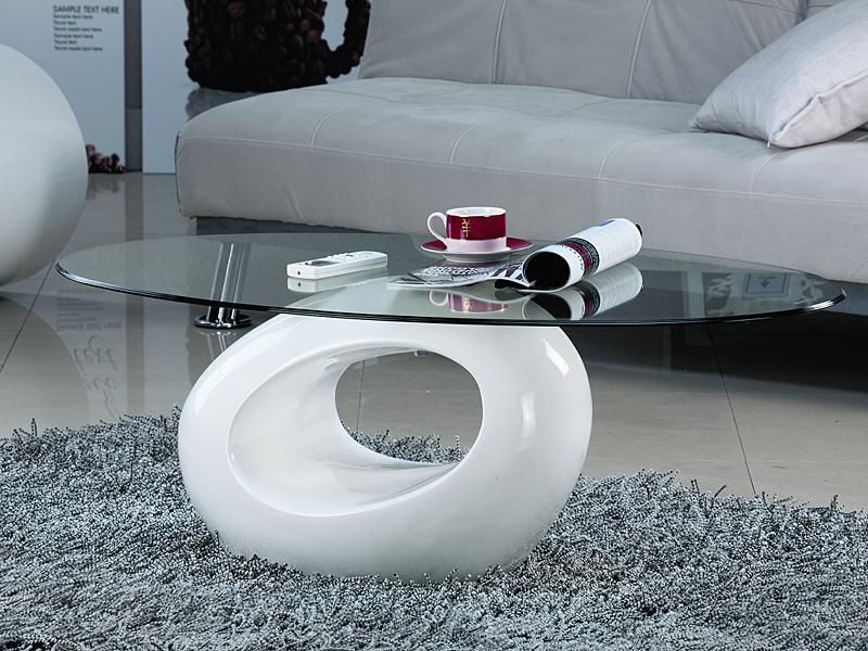 Mesa de centro ovalada blanca lacada en dm y cristal for Mesas ovaladas de cristal