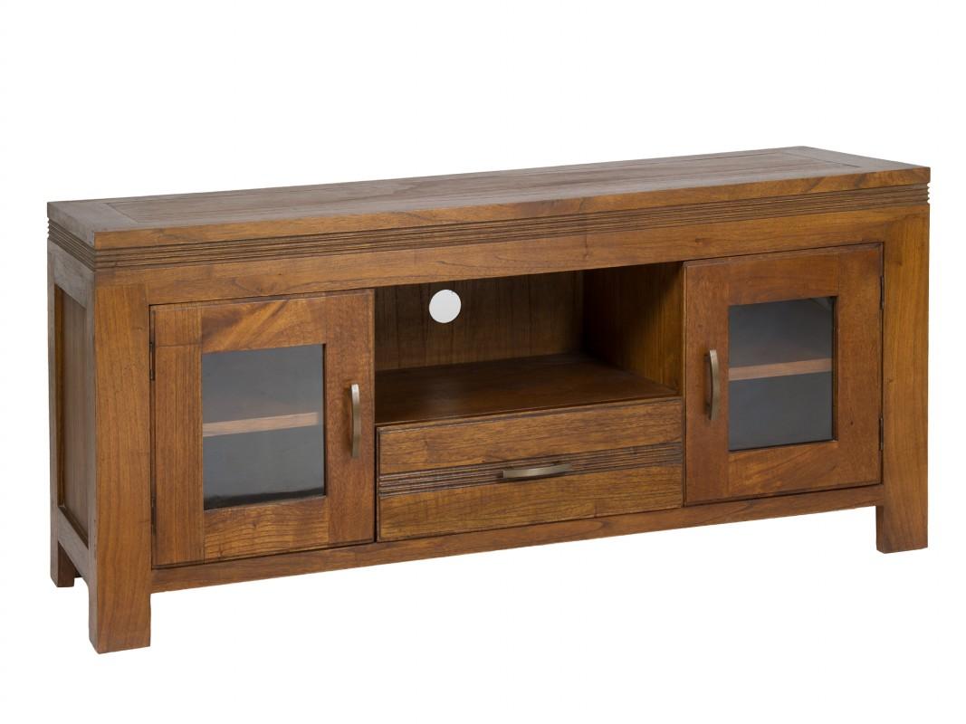 Mesa tv de madera estilo colonial muebles para televisi n for Modelos de muebles