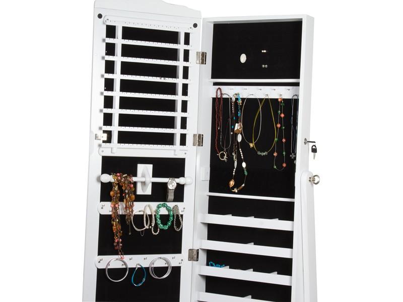 Armario joyero blanco con espejo vestidor de madera for Espejo joyero casa