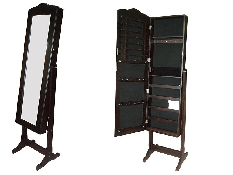 Mueble joyero con espejo marr n - Mueble espejo joyero ...
