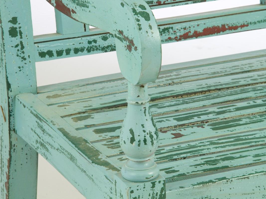 Banco vintage de madera decapada banco decoracion interior for Banco de plastico para jardin