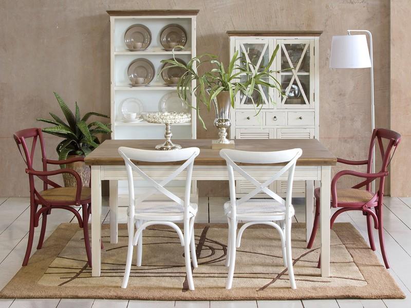 Mesa de comedor vintage de madera decapada mesas online for Comedor vintage blanco