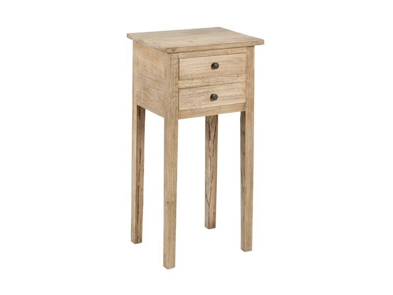 Mesa auxiliar peque a de madera natural con dos cajoncitos - Mesas de noche rusticas ...