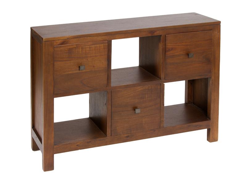 Mueble auxiliar colonial de madera 3 cajones y 3 estantes - Muebles tipo colonial ...