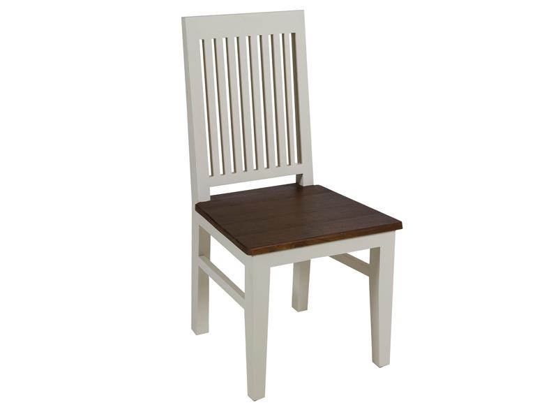 Silla n rdica de madera de mindi blanca y nogal decoracion for Silla nordica madera