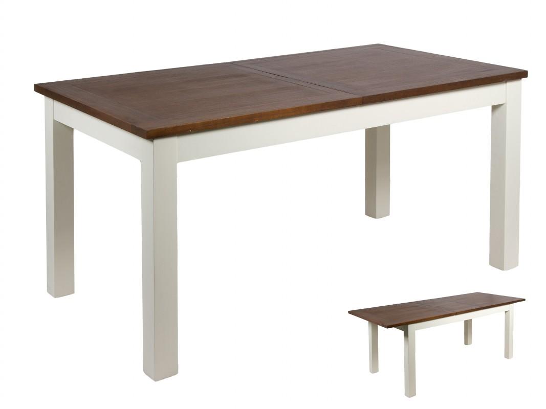 Mesa de comedor extensible de madera blanca y marrón