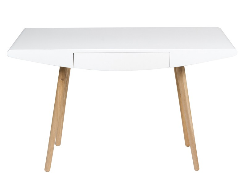 Escritorio escandinavo en blanco y madera con caj n for Privalia muebles