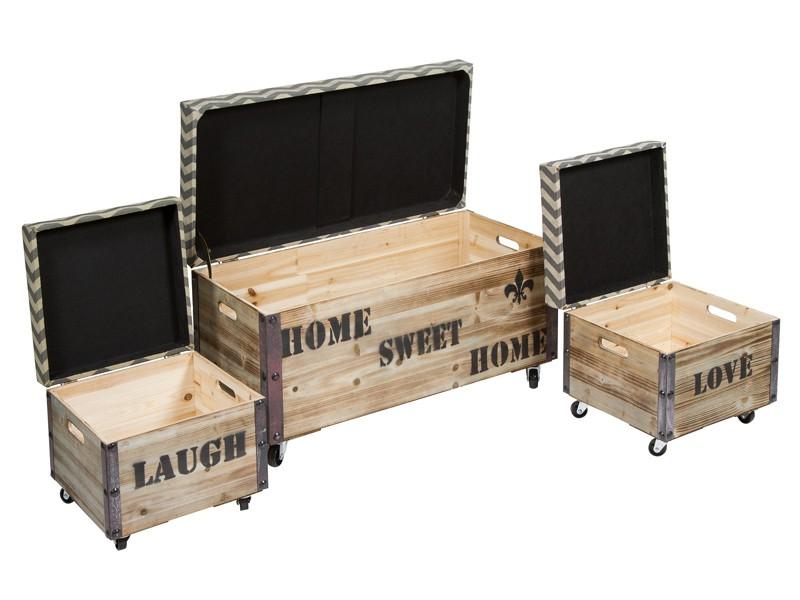 Baules con ruedas de madera vintage baules decorativos - Baules con ruedas ...