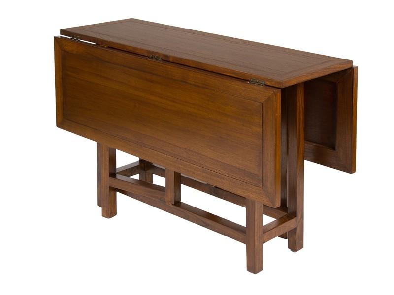 Mesa plegable cuadrada de madera color nogal mesas libro - Mesas libro de comedor ...