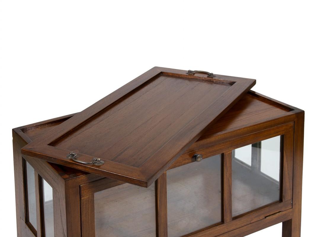 Mueble buffet con ruedas de madera de acacia estilo colonial for Mueble buffet