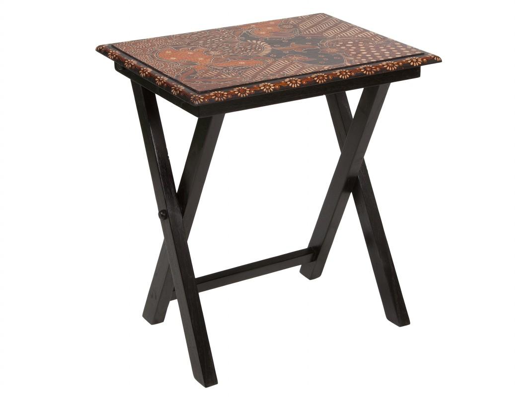 Mesa auxiliar estampada en madera de color negro - Mesas auxiliares pequenas ...