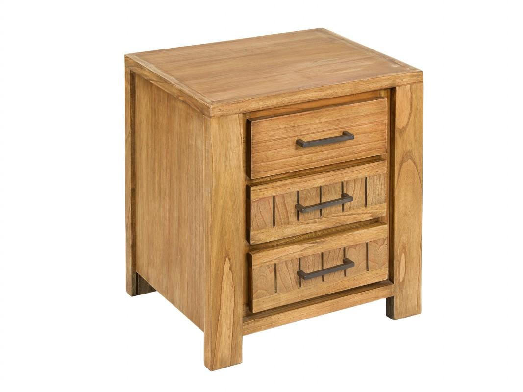 Mesa de noche r stica de madera de mindi color natural for Mesas de noche de madera