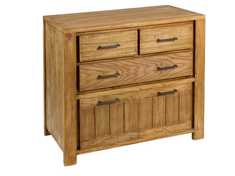C moda madera natural estilo r stico con armario y cajones for Armario madera natural
