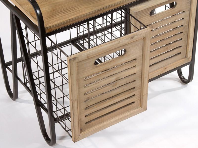 Banco perchero para recibidor con 2 cajones madera y metal
