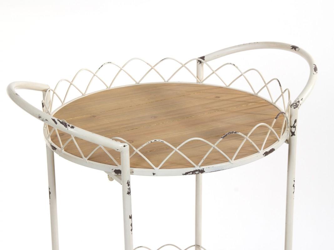 Carrito de servicio redondo estilo vintage de madera y metal for Comedor redondo vintage