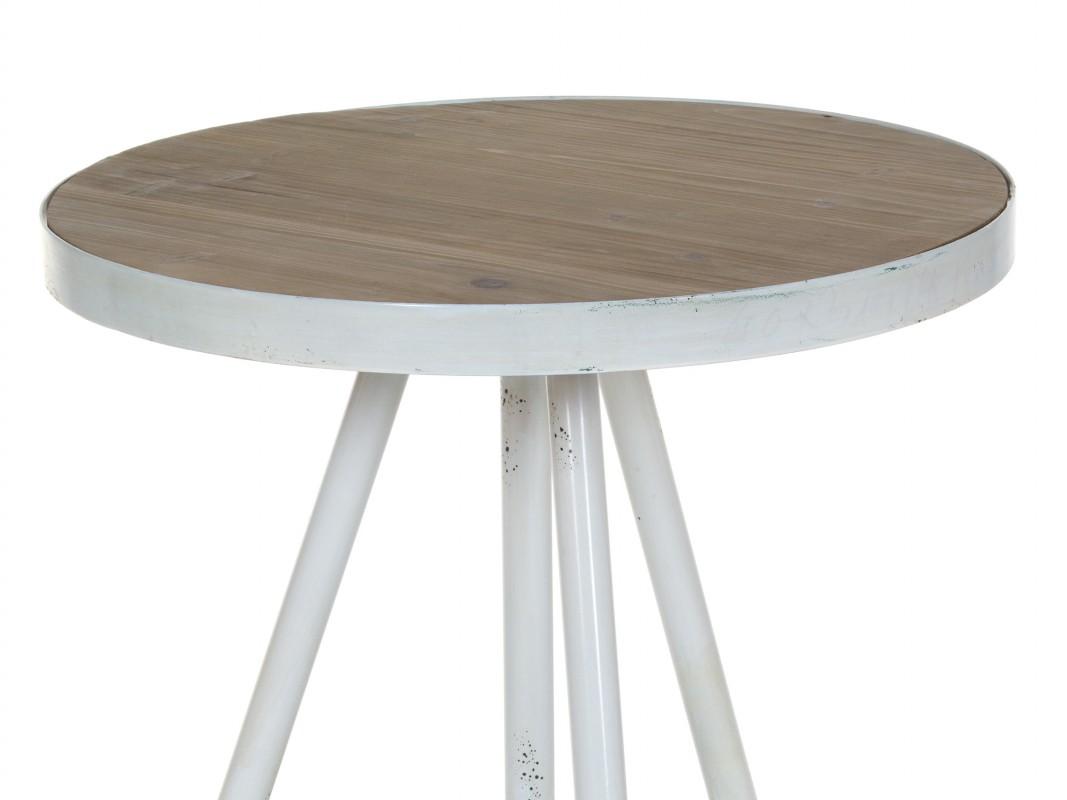 Mesa de caf redonda de metal y madera estilo vintage - Mesa redonda vintage ...