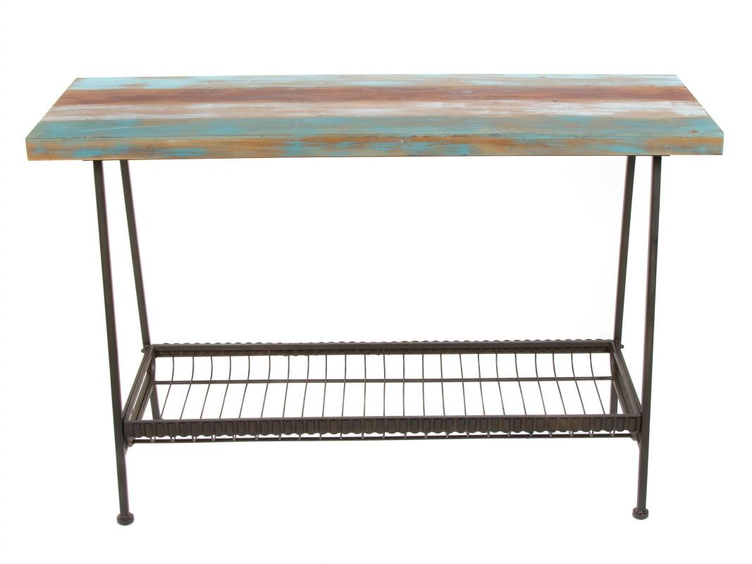 Recibidor industrial colores madera y hierro con estante - Recibidor industrial ...