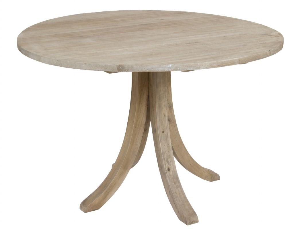 Mesa redonda rústica de madera envejecida para salón-comedor