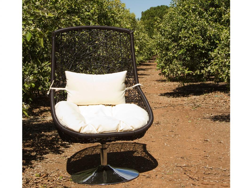 Butaca nido jard n de rattan sint tico con coj n sillas nido for Butaca de jardin