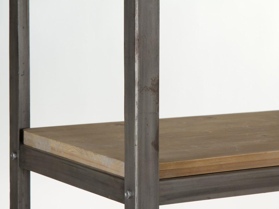 Estanter a estrecha con ruedas hierro y madera estilo Estanteria estrecha bano