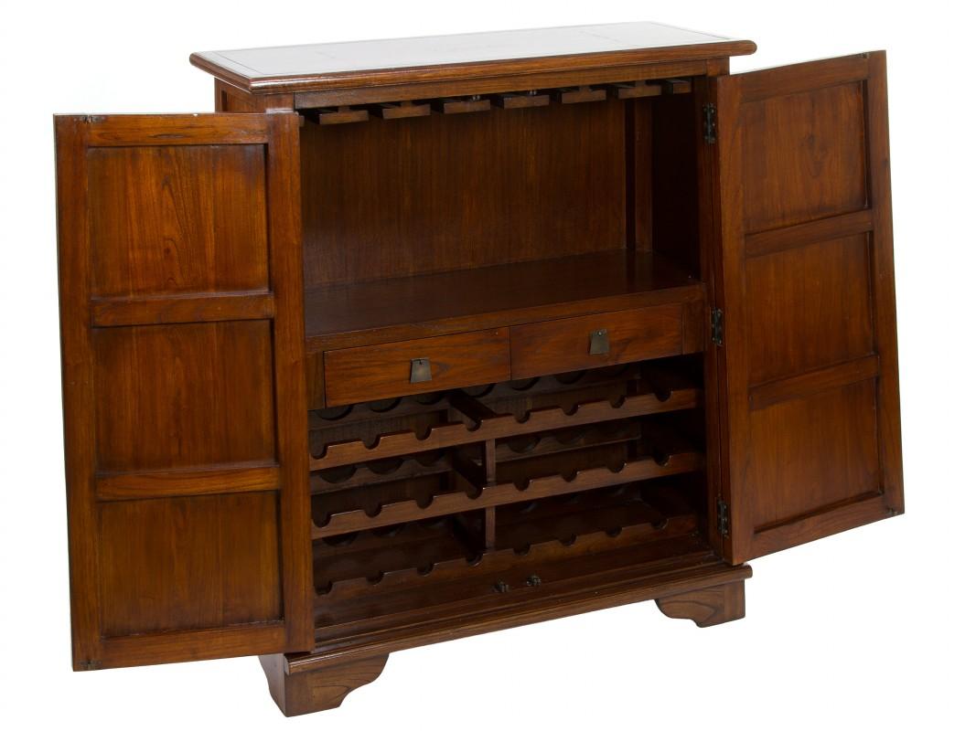 Mueble vinoteca de madera con puertas estampadas de colores - Muebles para vinotecas ...