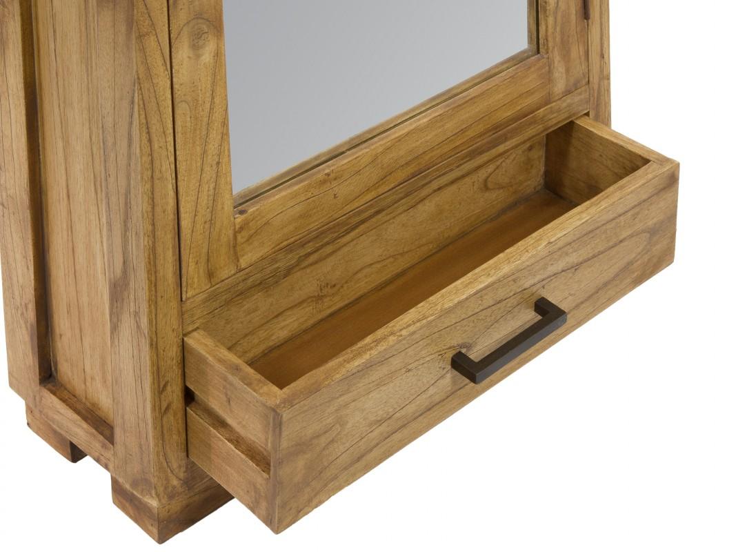 zapatero estrecho de madera natural envejecida con espejo