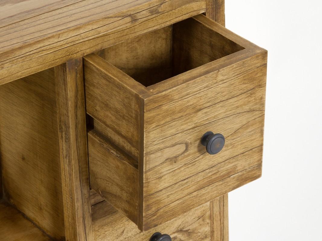 Mueble auxiliar r stico de madera envejecida con 4 cajones for Mueble auxiliar rustico
