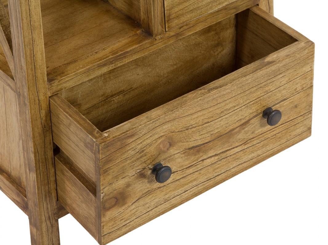 Mueble auxiliar r stico de madera envejecida con 4 cajones for Muebles auxiliares rusticos