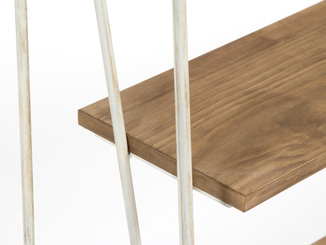 Estanter a forja blanca y madera de abeto estilo vintage for Estanteria madera blanca