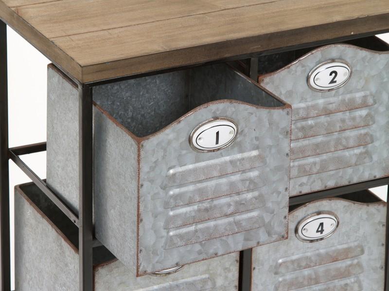 Cajonera auxiliar de metal y madera estilo industrial - Cajonera estilo industrial ...