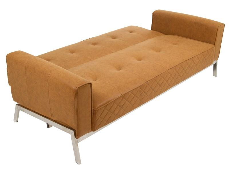 Sof cama vintage de polipiel marr n con patas de acero for Sofa cama vintage