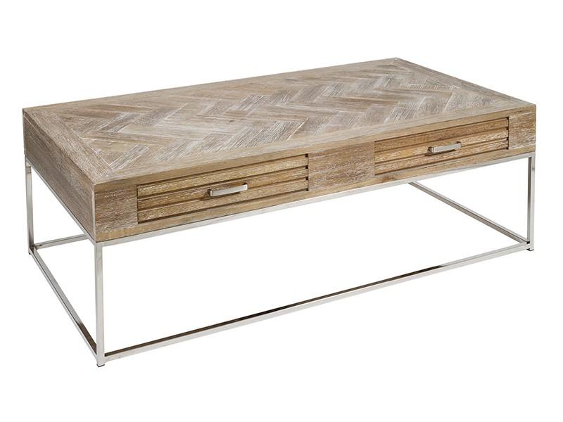 Mesa baja salon de madera de teca y acero con cajones - Mesa baja salon ...
