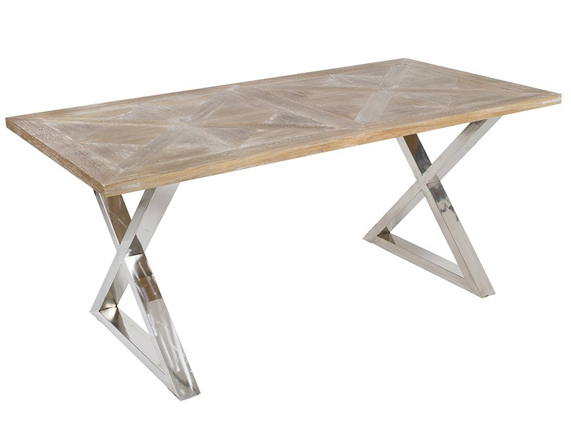 Mesa de comedor de teca industrial Parma