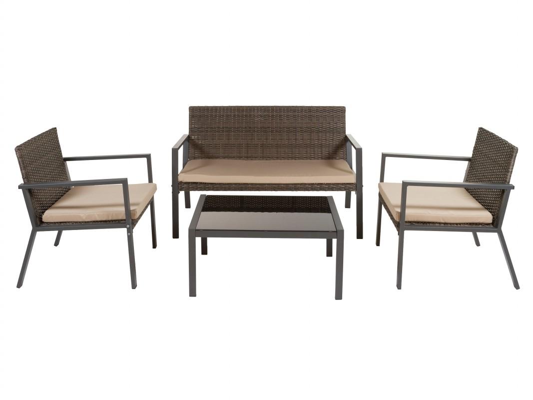 Sillones y mesa para terraza de rat n sint tico for Sillones para terrazas y jardines