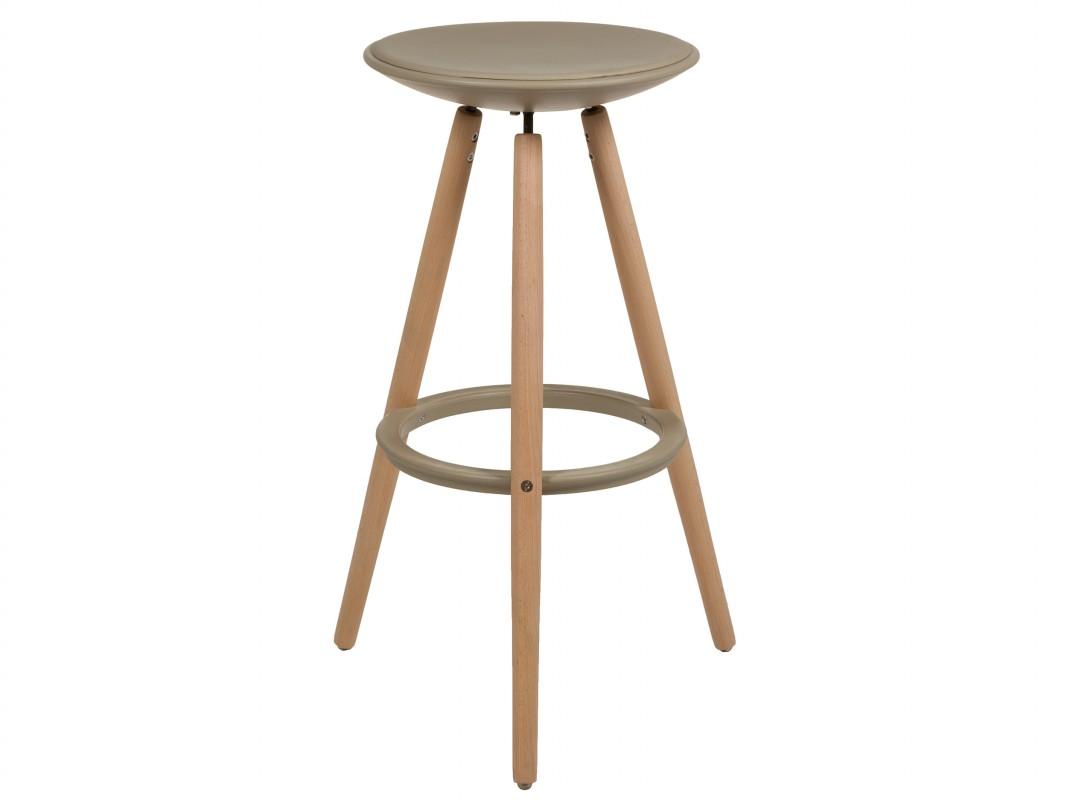 Taburete redondo alto de madera y polipropileno estilo n rdico for Taburete estilo nordico
