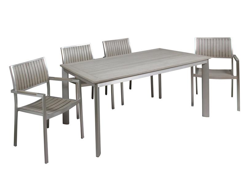 conjunto de jard n mesa y 4 sillas de aluminio y sint tico