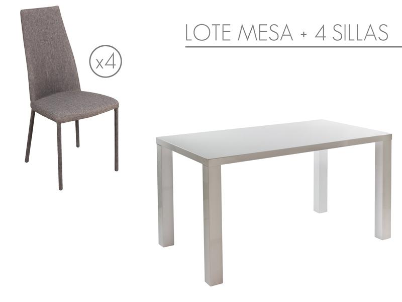 Conjunto de mesa blanca lacada y sillas tapizadas de comedor - Mesa comedor blanca lacada ...