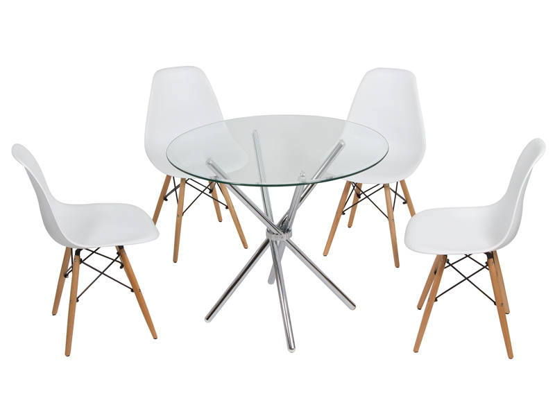 Mesa redonda de cristal y sillas eames muebles online - Mesas redondas cristal comedor ...