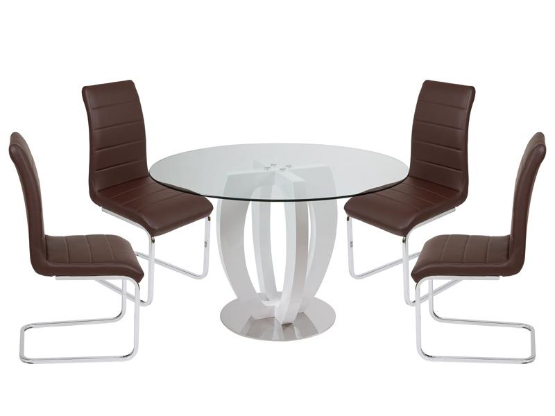 Conjunto de mesa y sillas marrones for Sillas marrones