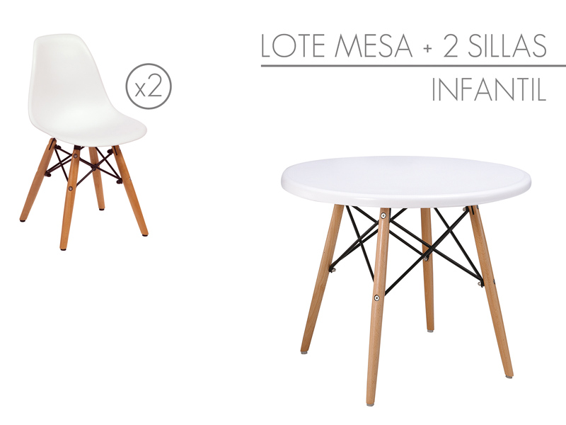 Conjunto mesa y sillas eames peque as muebles infantiles for Sillas para mesa redonda