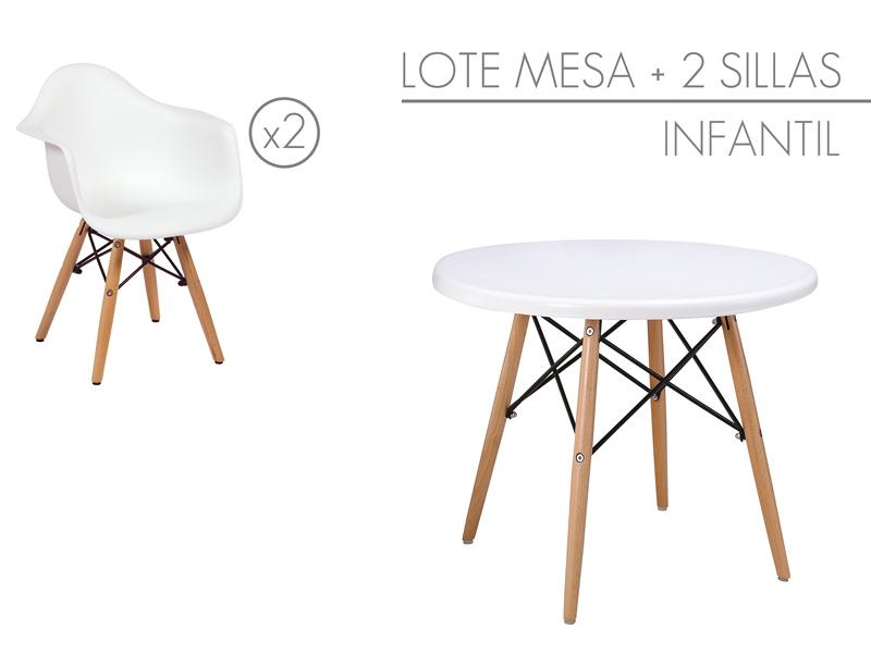 Conjunto mesa y sillas para ni os muebles eames online for Medidas sillas ninos