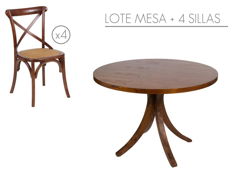 Conjunto mesa redonda con 4 sillas de madera - Mesa redonda con sillas ...
