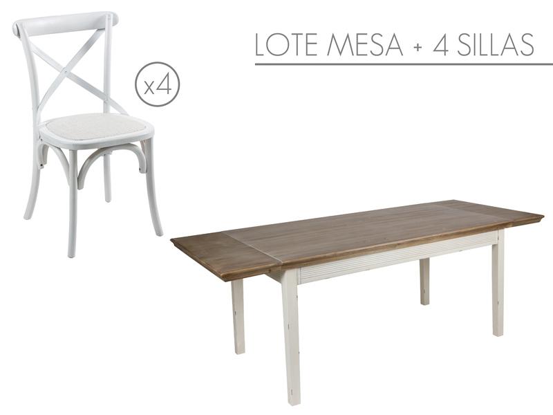 Conjunto mesa extensible y 4 sillas cruceta blancas for Mesa y sillas blancas